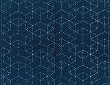 ナスカ 刺し子布 藍染め 5六角つみ木