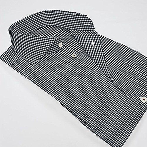 ワイシャツ 軽井沢シャツ [A10KZW064]ワイドスプレッド カッタウェイ ブラックギンガムチェック 形態安定 らくらくオーダー受注生産商品