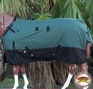 66–84Hilason 1200dリップストップ防水Turnout冬Horse Blanketグリーンブラック 76 inch