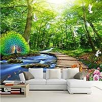 Xbwy カスタム壁画壁紙3Dフォレストピーコックウッドブリッジ自然風景写真壁の壁画リビングルームテレビソファ背景壁絵画-250X175Cm