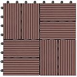 アイリスプラザ ジョイントタイル 十文字溝付 4割 人工木 ブラウン 27枚セット