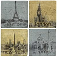 Thirstystone Ambiance Travertine Coaster, Multicolored, Romantic Cities by Thirstystone