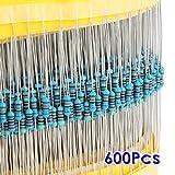 抵抗,SODIAL(R)600x30種類値1% 0.25W 1/4W金属フィルム抵抗ミックスセレクション(1~1M オーム)