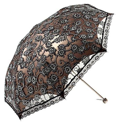 [Freahap]二重張りレース日傘折りたたみ8本骨細工刺繍UPF>50紫外線防止遮光レディース晴雨兼用おしゃれブラック