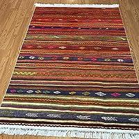 トルコエリアラグbyホームBoheme Kilimデザインエリア絨毯リビングダイニングルーム、廊下、キッチンの 4'x6'