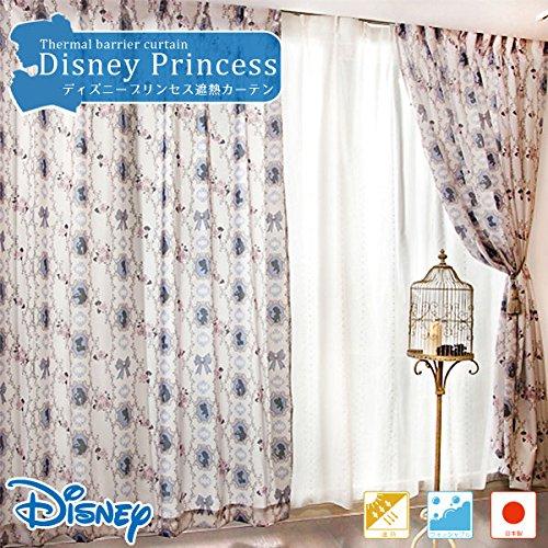 安心・安全の日本製 エレガントなプリンセスデザインで窓辺に優雅さをプラス♪ディズニープリンセス遮熱カーテン / ベージュ / 100cmX135cm(2枚組) / 遮熱性 / ドレープカーテン / ディズニー / 子供部屋 / キッズルーム / 洗える /