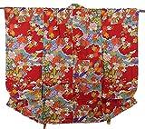 アンティーク 子供着物  女の子 御所車に四季の花々 正絹 綸子 裄51cm 身丈89cm