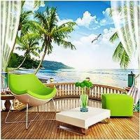 Xbwy 壁紙3D海風景バルコニー壁画リビングルームテレビダイニングルーム防水キャンバス家の装飾-280X200Cm