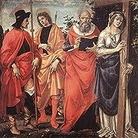 手描き-キャンバスの油絵 - Four Saints Altarpiece 1483 キリスト教的 Filippino Lippi 芸術 作品 洋画 ウォールアートデコレーション -サイズ13