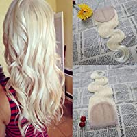 16'' Free Part Closure Body Wave Virgin Brazilian Hair Closure #613 Blonde Lace Closure 100% Virgin Human Hair 4x4 Lace Frontal Closure [並行輸入品]