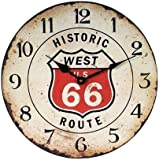 ルート66 カフェクロック 掛け時計 アンティーク風 ホワイト(アイボリー)