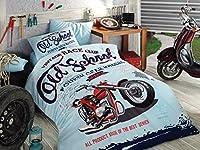 Vintage Race Club%100 Cotton Boy's Old School Single Twin Duvet Quilt Cover Set Bedding Linens 3 Pcs [並行輸入品]