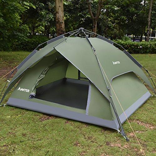 ANNTER ワンタッチテント テント 3~4人用 設営簡単 防災用 2WAY キャンプ用品 撥水加工 紫外線防止 登山 折りたたみ 防水 通気性 アウトドア 秒速設営 3色選択可能 (アーミーグリーン 改良版)