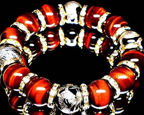 最高級AAA14mm数珠◇銀彫四神獣オニキス×レッドタイガーアイ(オーガンジーポーチ付き)【パワーストーンブレスレット】【天然石数珠】