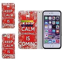 iPhone 8 ケース,アイフォン 8 ケース,Bcov 良質PUレザーケース 横開き 手帳型 二つ折り カード収納ポケット 保護カバー クリスマス 赤い底面