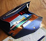 多機能 パスポート ケース お金 カード スマホ もスッキリ収納 男女兼用 日常のお財布にも! (紺)