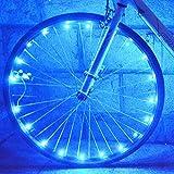 防水 自転車ホイールライト 自転車タイヤ ライト LEDホイールライト 20個LED 光るスポークライト サイクリング 夜道安全 事故防止 学生 通勤 通学 (ブルー)