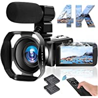 ビデオカメラ 4K YouTubeカメラ5600万画素 WIFI機能 18倍デジタルズーム外付けマイク+フード 3インチ…