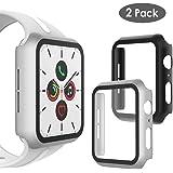 WD&CD [2枚] Apple Watch Series 5 Series 4 44mm 対応 ケース フルカバー Apple Watch 5/4 44mm 対応 ガラスフィルム PCフレーム 軽量 擦り傷防止 全面保護 耐衝撃ケース 脱着簡単 (ブラック + シルバー)