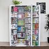 本棚 扉付 最大収納DVDで638枚 便利 生活 収納ラックDVDラック CD・コミック書棚ストッカー収納庫 ホワイト