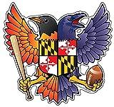 Birdland RavenとボルチモアOriole Maryland Crest 4.85X 4.75インチステッカーデカールDie Cut Vinyl–Made in USA