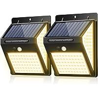 BINGONE 暖色系140LED ソーラーライト センサーライト 3面発光 屋外照明 人感センサー 3つ点灯モード 防…