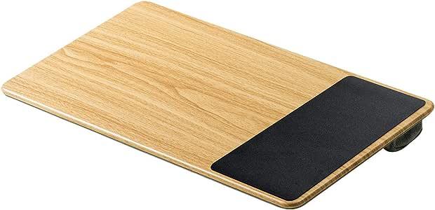 サンワダイレクト ひざ上テーブル ノートPC/タブレット用 15.6型対応 マウスパッド・クッション付き 木目調 ライトブラウン 200-HUS007LBR
