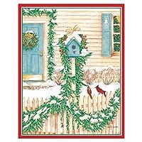 Caspari クリスマスバードハウス ミニボックス入りクリスマスカード Set of 32 オフホワイト