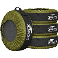 FIELDOOR タイヤバッグ タイヤトート タイヤカバー 4枚セット/フェルトパッド1枚付き カーキ (22-30イン…