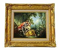 世界の名画 フランソワ ブーシェ 四季-春 ジクレーキャンバス複製画F3号豪華額装品
