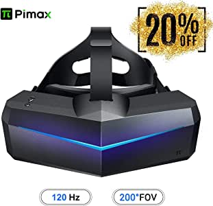 Pimax 5K Plus VR ヘッドマウントディスプレイ、バーチャルリアリティヘッドセット、ワイド 200°FOV, デュアル 2560x1440p RGB LCD パネル & 6 DOF 追跡, 一年間の保証
