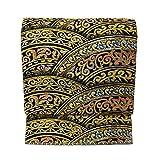 仕立て上がり たつむら 錦 龍村美術織物 袋帯 西陣織 正絹 彩円唐草文 黒色の地 金色 六通 仕立て 上り 絹芯 仕立て