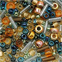 Toho Multi-Shape Glass Beads 'Raiden' Gold/Green/Blue Color Mix 8 Gram Tube