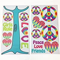 One Grace Place Terrific Tie Dye Wall Decals, Aqua Blue, Royal Blue, Purple, Yellow, Green, Orange, Pink, Red and White by One Grace Place