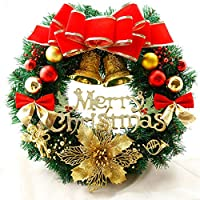 リースと強力な祭りの雰囲気を持つ花輪/クリスマスリース飾り、クリスマスフロントドアの装飾、PVC、カラフル、 (色 : Without lights, Size : 50cm)