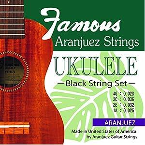 【Famous】 ウクレレ用 ブラック弦 セット (ナイロン オールサイズ対応)