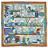 HERMES スカーフ カレ (エルメス) HERMES スカーフ カレ 90 ツイル LES TROPHEES ライトブラウン/ホワイト/イエロー 27428 [並行輸入品]