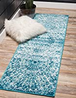 Unique Loom Sofia Collection Traditional Vintage Turquoise Runner Rug (3' x 16') [並行輸入品]