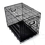 プチリュバン ダブルドア 折りたたみ式 ペットケージ Mサイズ ブラック トレイ付 スチール製 犬用