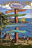 モントレー、カリフォルニア–Destination Sign 24 x 36 Signed Art Print LANT-32748-710