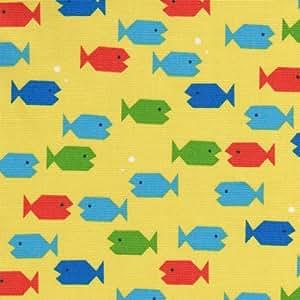 【アニマルプリント】泳げさかなクン 4色あります 1m単位で切り売りいたします (イエロー系)
