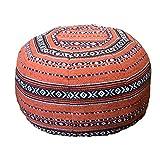 ☆Morocco pouf☆ モロッコ プフ 中綿入り 布タイプクッション オットマン スツール モロカンスタイル オレンジ横柄