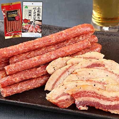 サラミ ジャーキーセット 味な物語サラミソーセージ 山形豚のベーコンジャーキー 2種セット わけあり カルパス
