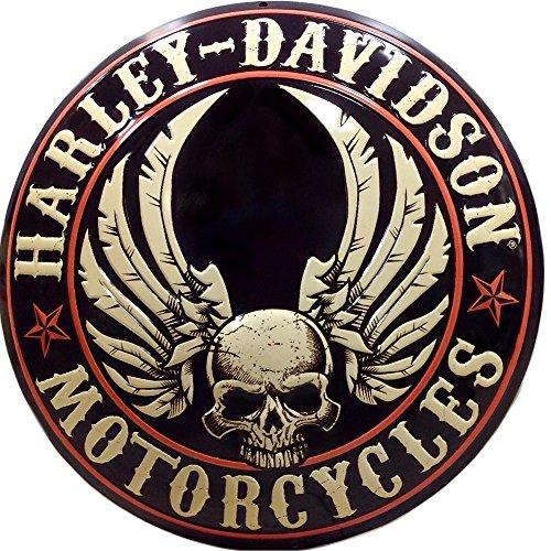 ハーレーダビッドソン ブリキ看板 ドーム型 メタル プレート Harley Davidson Flying Skull Button バイク アメリカン雑貨 アメリカ 雑貨 ハーレー インテリア グッズ 世田谷ベース ガレージ