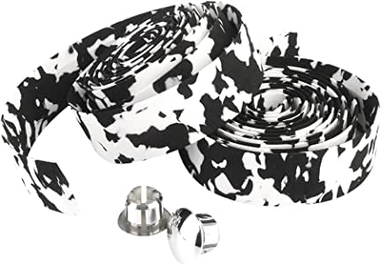 自転車 バーテープ ハンドルバーテープ  左右 2個 セット ハンドル グリップ ブラックとホワイト