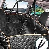 lanktoo犬用カーシートカバー、サイドスリップ&ポケット付き防水スリップバックシートカバープロテクター、トラック用SUV用犬用ハンモックSUV(L54 x W58インチ)