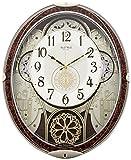 リズム時計 掛け時計 電波 アナログ からくり スモールワールドノエルN 30曲 メロディ 茶 (木目仕上) Small World 4MN539RH23