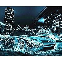LovetheFamily 数字油絵 数字キット塗り絵 手塗り DIY絵 デジタル油絵 雨の後のフェラーリスポーツカー 40x50cm ホーム オフィス装飾