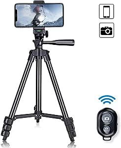 ミニ三脚 スマホ三脚 ビデオカメラ三脚 コンパクト アルミ製 Bluetoothリモコン4段階伸縮 360°回転可能 収納袋付きiPhone Android 多機種に対応 【1年安心保障付き】