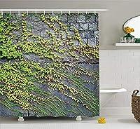 Yeuss素朴な家の装飾シャワーカーテン、成長するつる植物とレンガの壁の葉自然の美しさのイラスト、布張りのバスルームの装飾セット、グリーングレー